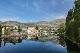 Bosnia and Herzegovina, Trebinje, view to the old town with Trebisnjica River in the foreground