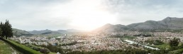 Bosnia and Herzegovina, Trebinje, cityscape at backlight