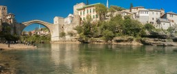 Bosnia and Herzegovina, Mostar, Old Bridge, Panorama, River Neretva