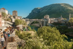 Bosnia and Herzegovina, Mostar, Old town, Stari most bridge