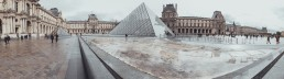 France, Paris, Louvre, glass pyramid in front of the old building
