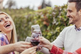 Happy friends in a vineyard clinking red wine glasses